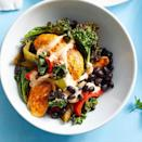 """<p>Skip the tortillas in favor of this warm fajita salad, which features a nutritious medley of chicken with roasted kale, bell peppers and black beans. The chicken, beans and vegetables are all cooked on the same pan, so this healthy dinner is easy to make and the cleanup is easy too. <a href=""""https://www.eatingwell.com/recipe/274851/sheet-pan-chicken-fajita-bowls/"""" rel=""""nofollow noopener"""" target=""""_blank"""" data-ylk=""""slk:View Recipe"""" class=""""link rapid-noclick-resp"""">View Recipe</a></p>"""