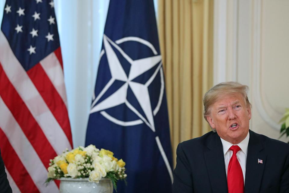 US President Donald Trump at a breakfast meeting with Nato Secretary General Jens Stoltenberg at Winfield House, the residence of the Ambassador of the United States of America to the UK, in Regent's Park, London, as Nato leaders gather to mark 70 years of the alliance.