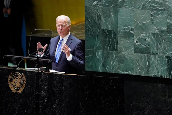 """President Joe Biden delivers remarks to the United Nations General Assembly in New York on Sept. 21.<span class=""""copyright"""">Evan Vucci—AP</span>"""