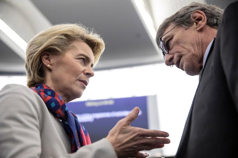 European Commission President Ursula von der Leyen talks to European Parliament president David Sassoli at the European parliament Tuesday, Jan.14, 2020 in Strasbourg, eastern France. Croatian Prime Minister Andrej Plenkovic will present the priorities of the rotating Council presidency for the next six months. (AP Photo/Jean-Francois Badias) (Photo: ASSOCIATED PRESS)