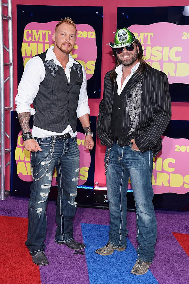 """<p class=""""MsoNormal"""">Don't mess with pro wrestlers Crimson and James Storm! The buff duo looked like they meant business while posing together on the red carpet. What do you think of Storm's glowing skull-adorned cowboy hat?</p>"""