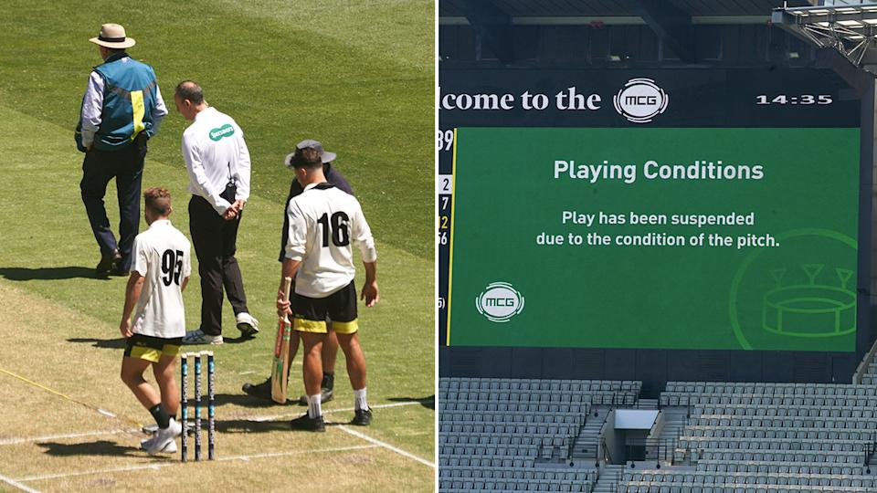Victoria's Sheffield Shield match was abandoned due to concerns over the MCG pitch. Pic: AAP