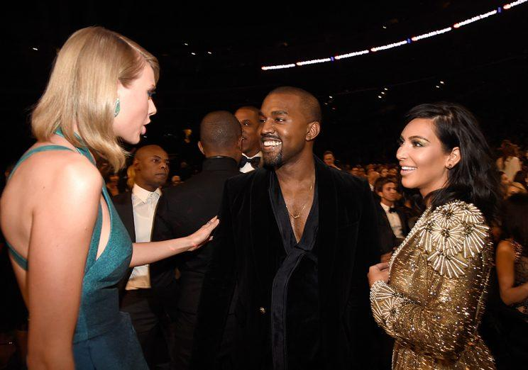 Taylor Swift, Kanye West and Kim Kardashian at the 2015 Grammys.