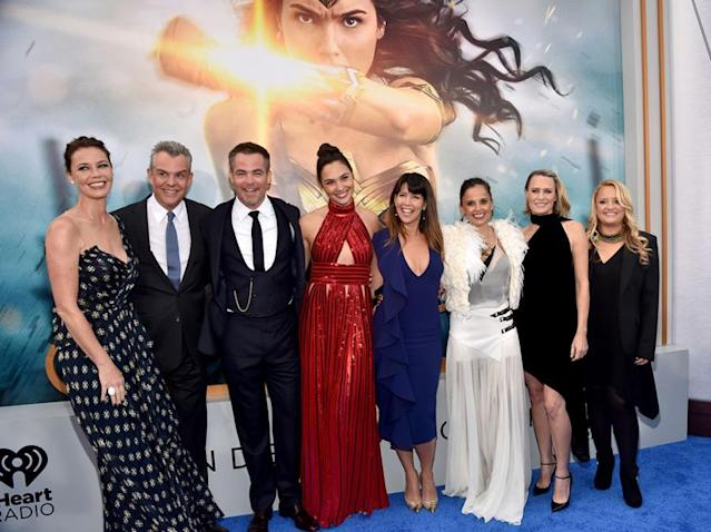 <p>From left: Actors Connie Nielsen, Danny Huston, Chris Pine, Gal Gadot, director Patty Jenkins, actors Elena Anaya, Robin Wright and Lucy Davis on May 25. (Photo: Alberto E. Rodriguez/Getty Images) </p>
