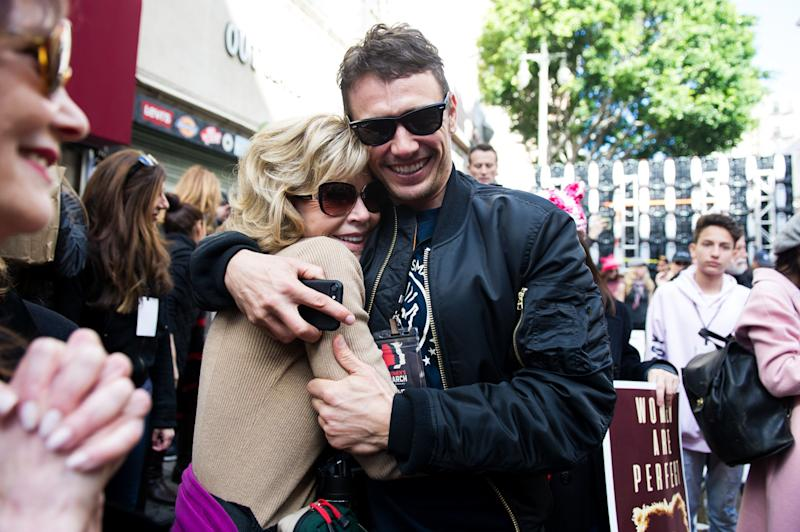 Jane Fonda and James Franco attend the women's march in Los Angeles, California.