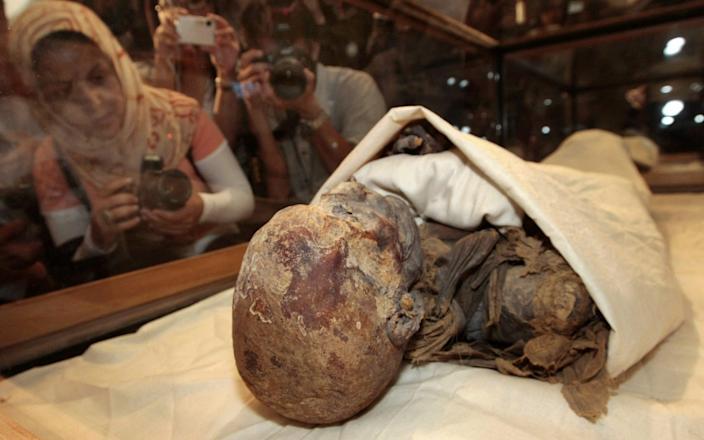 The mummified ruins of Queen Hatshepsut, the most famous female pharaoh in ancient Egypt, are one of the parades on the streets of Cairo this weekend-CRIS BOURONCLE & # xa0; / AFP
