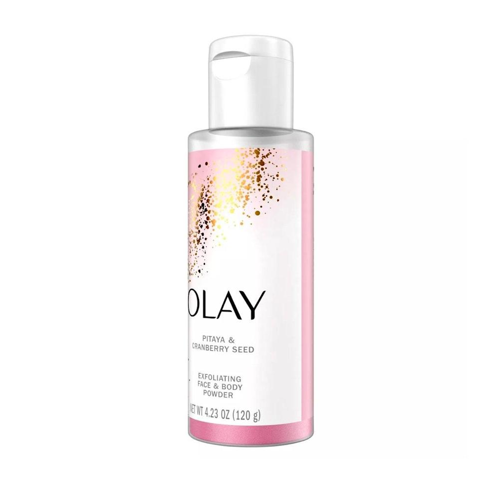 """Pairing Olay's exfoliating powder with its <a href=""""https://www.target.com/p/olay-rinse-off-body-conditioner-with-shea-butter-8-fl-oz/-/A-76618364#lnk=sametab"""" rel=""""nofollow noopener"""" target=""""_blank"""" data-ylk=""""slk:Rinse-off Body Conditioner"""" class=""""link rapid-noclick-resp"""">Rinse-off Body Conditioner</a> is the ultimate self-care indulgence I look forward to treating my skin with every week. Some exfoliators are set in stone when it comes to their consistency, but with this powder, you can customize its texture to your preference—all for just $8. —<em>T.G.</em> $8, Olay. <a href=""""https://www.target.com/p/olay-pitaya-38-cranberry-seed-exfoliating-face-38-body-powder-4-23oz/-/A-76618363#lnk=sametab"""" rel=""""nofollow noopener"""" target=""""_blank"""" data-ylk=""""slk:Get it now!"""" class=""""link rapid-noclick-resp"""">Get it now!</a>"""
