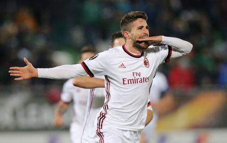 Soccer Football - Europa League Round of 32 First Leg - PFC Ludogorets Razgrad vs AC Milan - Ludogorets Arena, Razgrad, Bulgaria - February 15, 2018 AC Milan's Fabio Borini celebrates scoring their third goal REUTERS/Stoyan Nenov