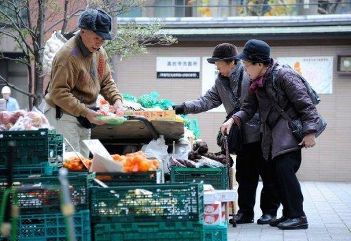 File photo shows elderly women shopping for vegetables near Kouganji Temple in Tokyo. Japan is ranked an embarrassing 101st out of 135 countries in the World Economic Forum's (WEF) annual Global Gender Gap Report, down three places from last year. Near neighbour China is at 69th