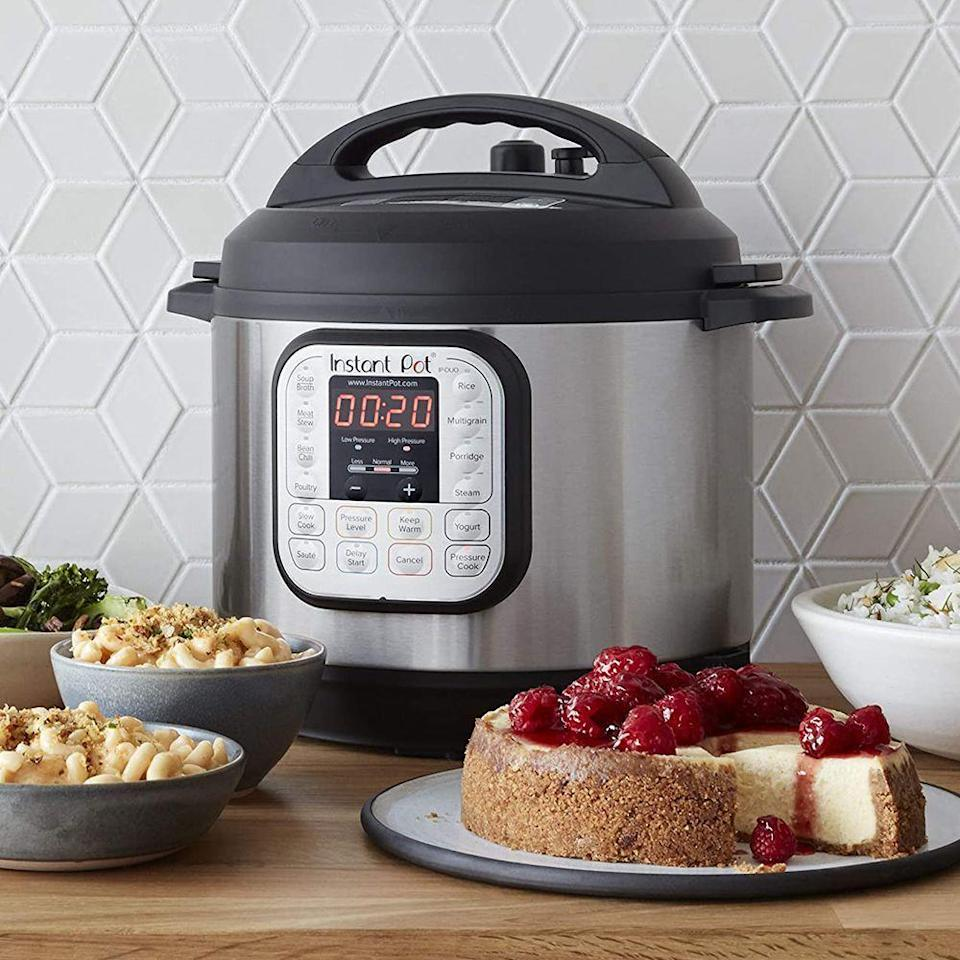 "<p><strong>Instant Pot</strong></p><p>amazon.com</p><p><strong>$89.00</strong></p><p><a href=""https://www.amazon.com/dp/B00FLYWNYQ?tag=syn-yahoo-20&ascsubtag=%5Bartid%7C2089.g.1764%5Bsrc%7Cyahoo-us"" rel=""nofollow noopener"" target=""_blank"" data-ylk=""slk:Shop Now"" class=""link rapid-noclick-resp"">Shop Now</a></p><p>With more than 72,000 reviews, this Instant Pot IP-DUO60 6-quart model is one of the most popular iterations of the gadget.</p><p>With 14 built-in Micro-Processor controlled programs, this appliance allows users to slow-cook everything from meats, stews, and chilis, to rice, breakfast porridge, and other grains. </p>"