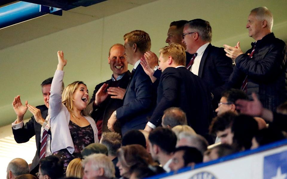 Prince William celebrates Aston Villa's first goal scored by Cameron Archer - Action Images via Reuters/Paul Childs
