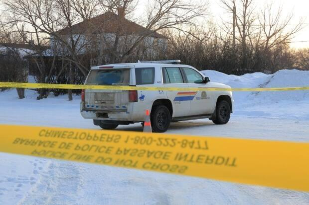 RCMP set up a perimeter around the property in Milden. (Photo courtesy Christian Moulding - image credit)
