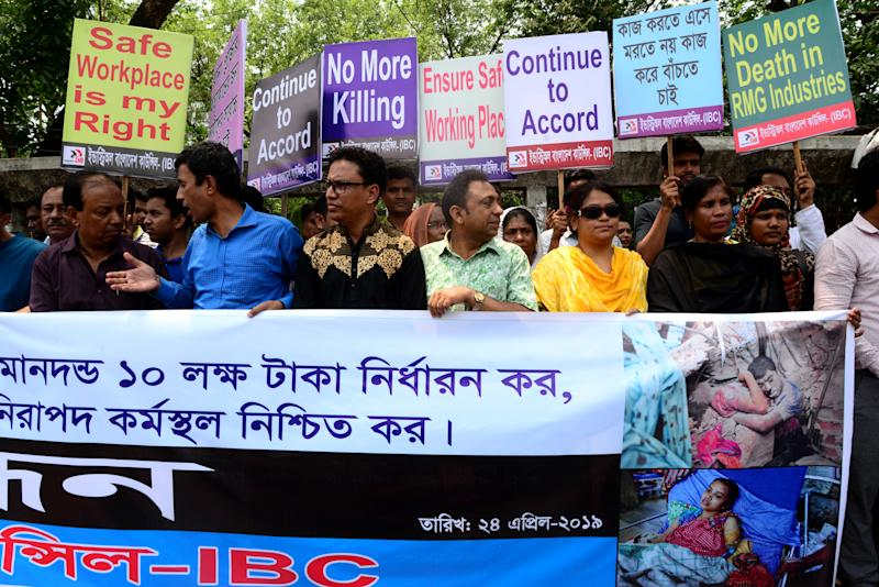 Industry All Bangladesh Council activists protest to demanding safe workplace for garments workers to mark the sixth anniversary of the of the Rana Plaza building collapse disaster in front of National Press Club in Dhaka, Bangladesh. On April 24, 2019. (Photo by Mamunur Rashid/NurPhoto via Getty Images)