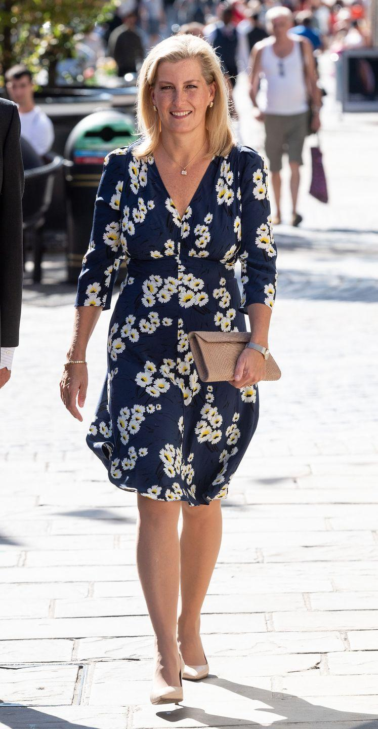 <p>Sophie wears a floral print to the 100th anniversary celebration of Daniel Department Store in Windsor.</p>