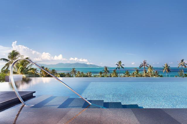 W Retreat Koh Samui, Koh Samui. Over 2,000ft long, the WET pool at W Retreat, Koh Samui looks out over swaying palms and the sparkling blue ocean. The hotel also has serene reflection pools that skirt the edges of the seating pods at WOO Bar and W- Lounge. (www.whotels.com/kohsamui)