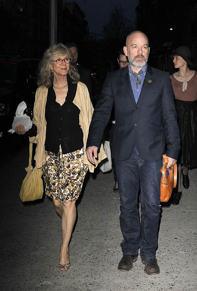 """Of course, we'd expect Gwyneth's mom, fellow actress Blythe Danner, to get an invite. But we were a bit surprised that she arrived with REM rocker Michael Stipe! <a href=""""http://www.infdaily.com"""" target=""""new"""">INFDaily.com</a> - April 11, 2011"""