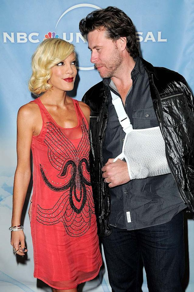 """Tori Spelling's marriage to Dean McDermott is starting to """"crumble,"""" alleges <i>Life & Style</i>, and the magazine supposedly has """"exclusive"""" video proof. While it's true, like other couples, they argue, <a href=""""http://www.gossipcop.com/life-style-turns-sweet-tori-spelling-marriage-sour/"""">Gossip Cop</a> has uncovered something that presents a more realistic view of these reality stars. Jordan Strauss/<a href=""""http://www.wireimage.com"""" target=""""new"""">WireImage.com</a> - January 10, 2010"""