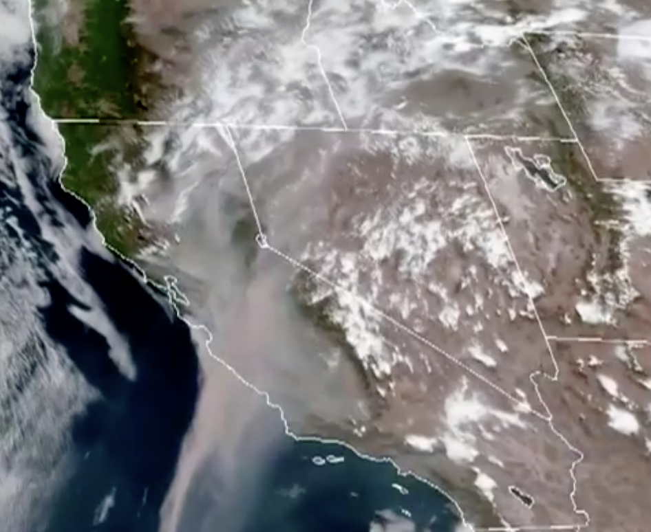 Smoke from the California wildfires is seen from space.