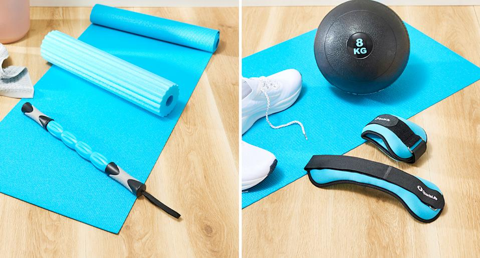 Pictured is some of the Coles Best Buys products, including a three-in-one yoga roller and an eight-kilogram slam ball.