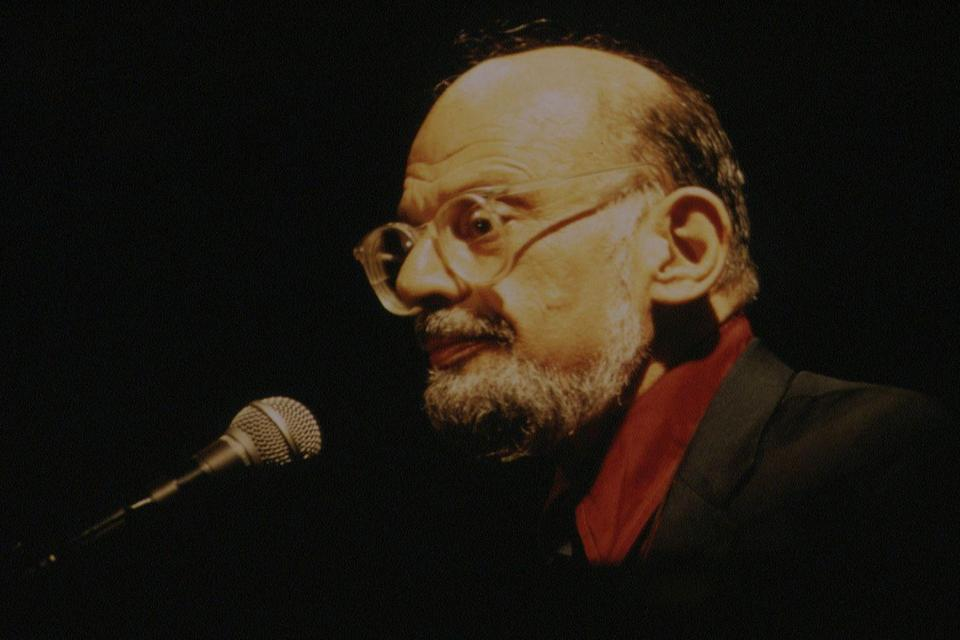 <p>Allen Ginsberg performing at The Viper Room during a poetry fair on September 1, 1994.</p>