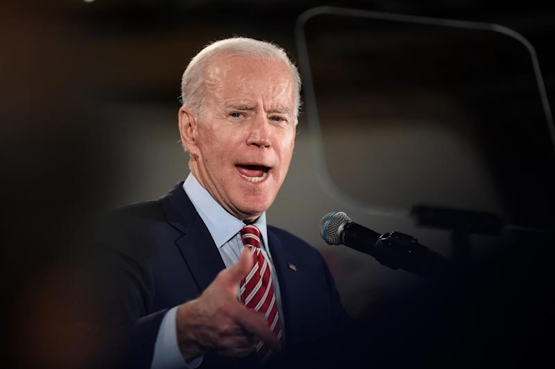 Democratic presidential contender Joe Biden speaks to supporters at an election rally on Tuesday, Feb. 11, 2020, in Columbia, S.C., the night of the New Hampshire primary. (AP Photo/Meg Kinnard)