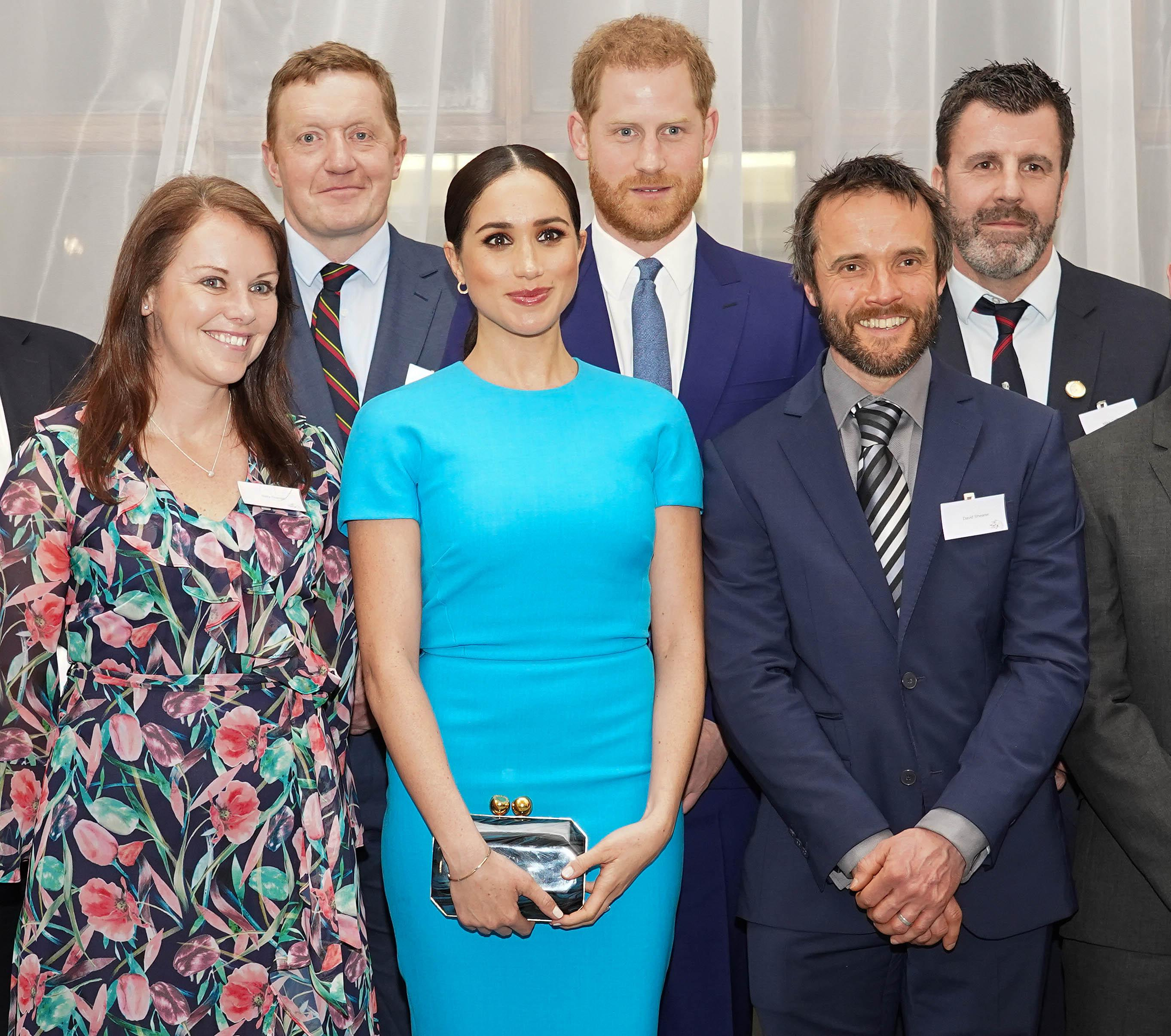 The Duke and Duchess of Sussex pose for a group picture at the Endeavour Fund Awards at Mansion House in London. (Press Association)
