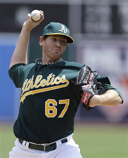 Oakland Athletics' Dan Straily works against the Texas Rangers in the first inning of a baseball game Wednesday, May 15, 2013, in Oakland, Calif. (AP Photo/Ben Margot)