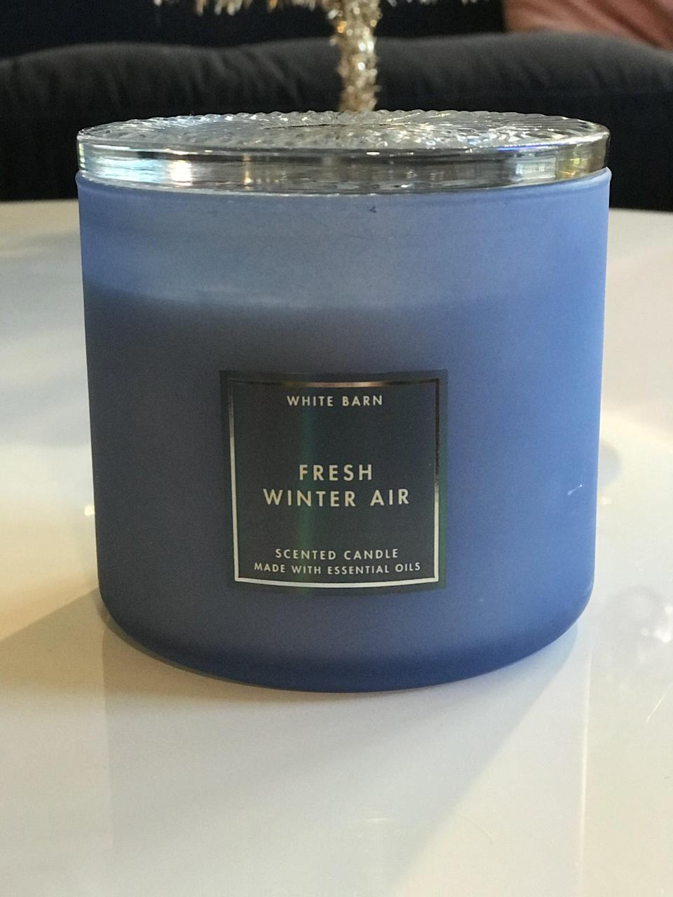 <p><span>Fresh Winter Air 3-Wick Candle</span> ($17, originally $27)</p> <p><strong>What It Smells Like:</strong> It's truly like breathing in crisp, cold air with a peppermint twist.</p>