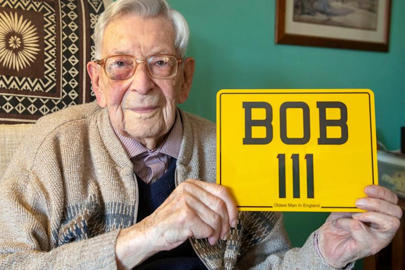 Bob Weighton, from Alton, with his personal number plate for his mobility scooter: PA