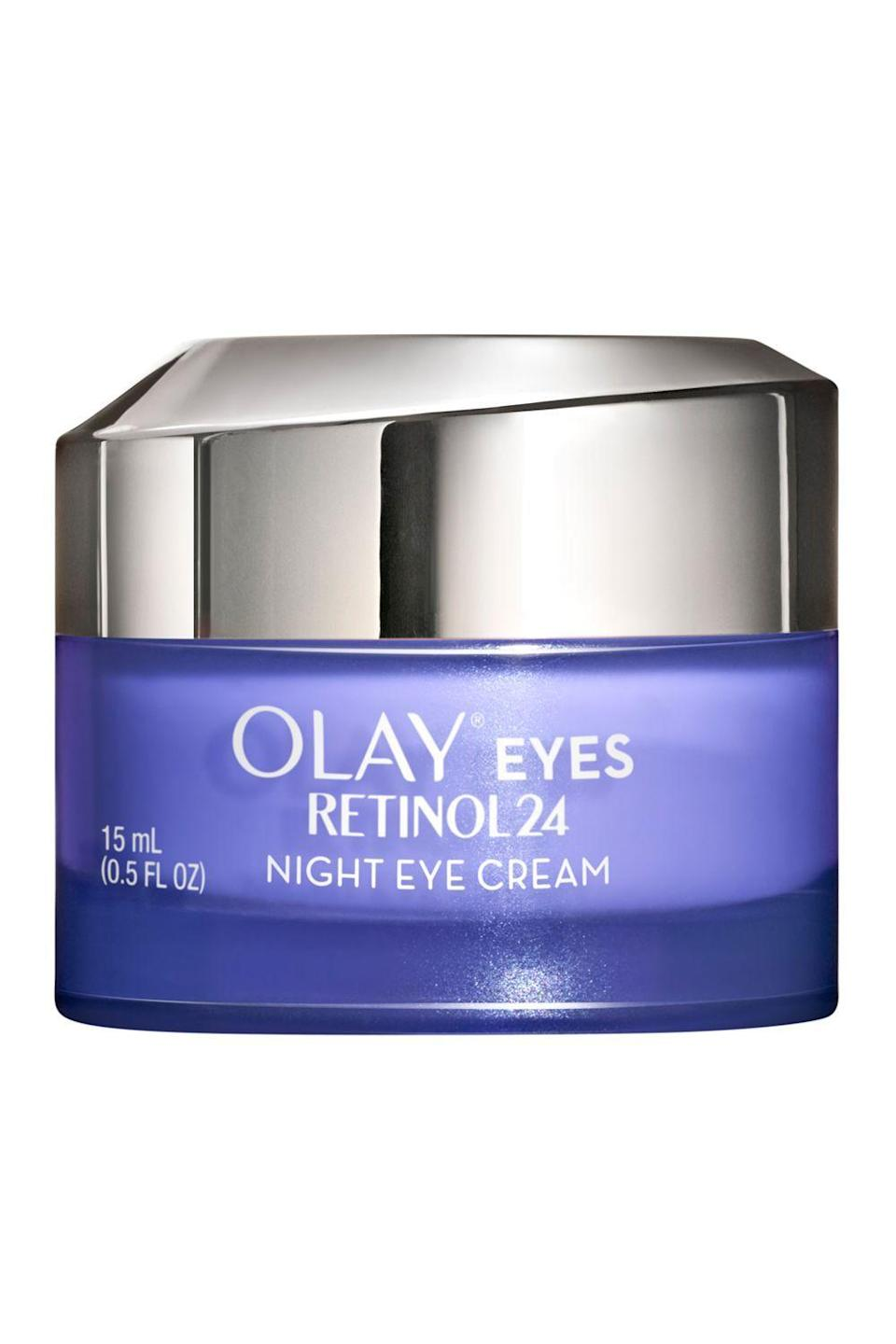 """<p><strong>Olay</strong></p><p>target.com</p><p><strong>$28.99</strong></p><p><a href=""""https://www.target.com/p/olay-eyes-retinol24-night-eye-cream-0-5-fl-oz/-/A-76542749"""" rel=""""nofollow noopener"""" target=""""_blank"""" data-ylk=""""slk:Shop Now"""" class=""""link rapid-noclick-resp"""">Shop Now</a></p><p>Remember that thing about certain retinol eye creams being suitable for nighttime only? This is one of them. The silky cream <strong>contains a retinol complex along with two potent antioxidants </strong>(vitamin B3 and <a href=""""https://www.cosmopolitan.com/style-beauty/beauty/a27609307/vitamin-e-for-skin-benefits-products/"""" rel=""""nofollow noopener"""" target=""""_blank"""" data-ylk=""""slk:vitamin E"""" class=""""link rapid-noclick-resp"""">vitamin E</a>) to firm and brighten your skin while you snooze.</p>"""