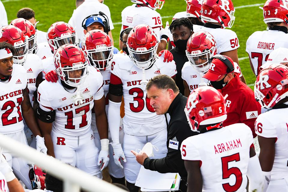 Rutgers coach Greg Schiano gives instructions to his team during its game against Michigan State on Oct. 24. (Steven King/Icon Sportswire via Getty Images)