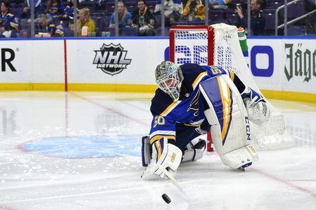 Apr 20, 2019; St. Louis, MO, USA; St. Louis Blues goaltender Jordan Binnington (50) defense the net during the second period in game six of the first round of the 2019 Stanley Cup Playoffs against the Winnipeg Jets at Enterprise Center. Mandatory Credit: Jeff Curry-USA TODAY Sports