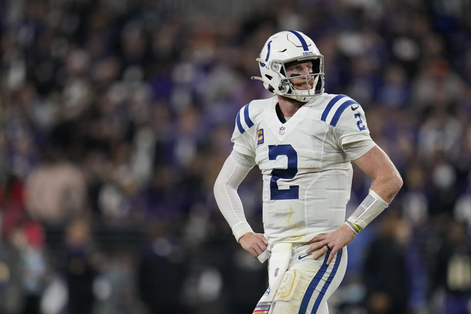 Indianapolis Colts quarterback Carson Wentz (2) walks off the field during the second half of an NFL football game against the Baltimore Ravens, Monday, Oct. 11, 2021, in Baltimore. (AP Photo/Julio Cortez)