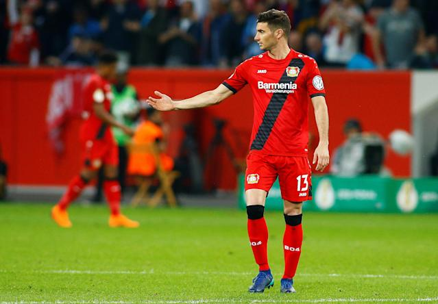 Soccer Football - DFB Cup - Bayer Leverkusen vs Bayern Munich - BayArena, Leverkusen, Germany - April 17, 2018 Bayer Leverkusen's Lucas Alario looks dejected after the match REUTERS/Thilo Schmuelgen DFB RULES PROHIBIT USE IN MMS SERVICES VIA HANDHELD DEVICES UNTIL TWO HOURS AFTER A MATCH AND ANY USAGE ON INTERNET OR ONLINE MEDIA SIMULATING VIDEO FOOTAGE DURING THE MATCH.