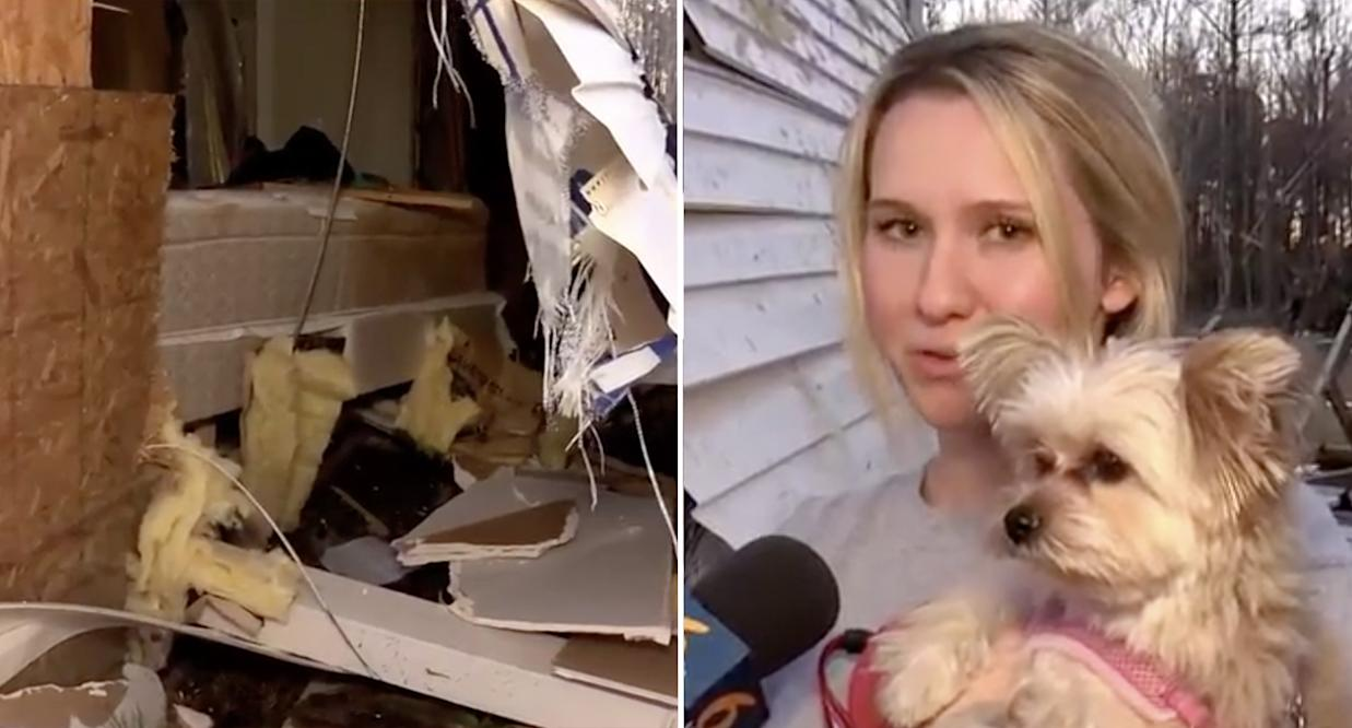Left is the damage to Brittany Memory's home and right is Ms Memory holding her Yorkshire Terrier, Penny.