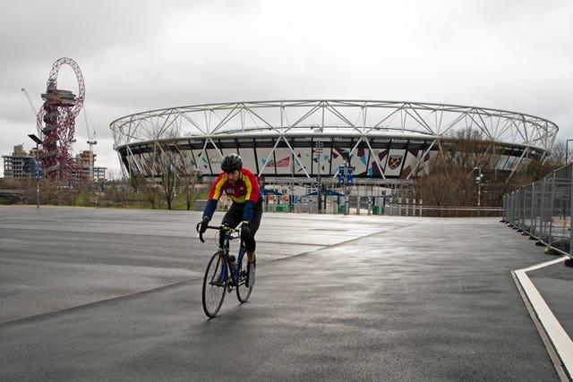 A cyclist near the Olympic Park