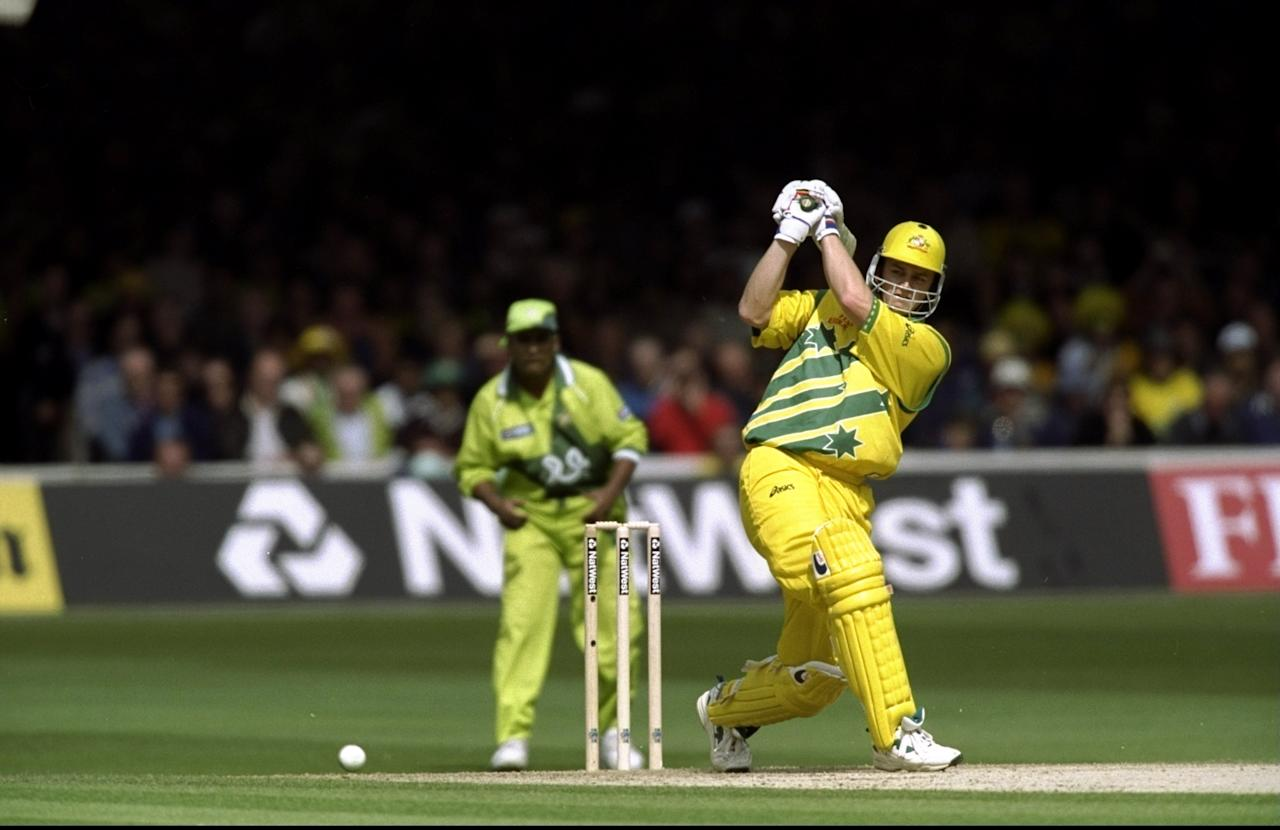 20 Jun 1999:  Adam Gilchrist of Australia on his way to 54 against Pakistan during the Cricket World Cup Final at Lord's in London. Australia won by 8 wickets. \ Mandatory Credit: Clive Mason /Allsport