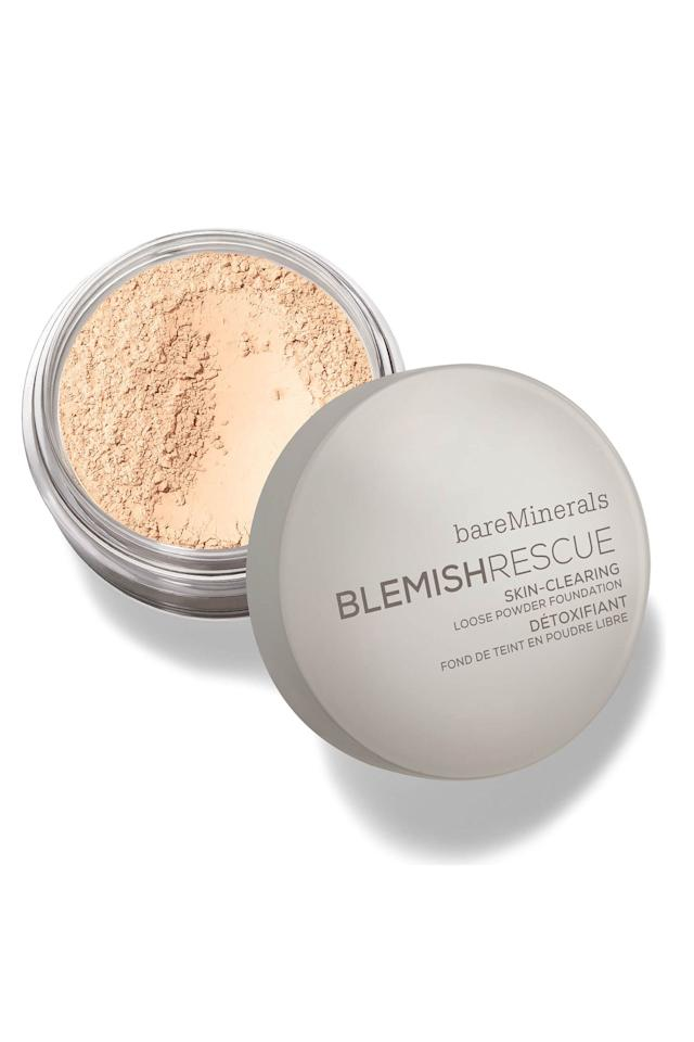 """<p><strong>bareMinerals</strong></p><p>sephora.com</p><p><strong>$29.00</strong></p><p><a rel=""""nofollow"""" href=""""https://www.sephora.com/product/blemish-rescue-skin-clearing-loose-powder-foundation-P432867"""">Shop Now</a></p><p>If you're dealing with acne, listen up. This loose powder contains two antibacterial minerals-zinc and sulfur-along with pore-clearing salicylic acid that all work to fight breakouts each time you buff it on. Fact: I used it for a month straight and noticed significantly fewer pimples along my chin and jaw. Like, hell, yes?</p>"""