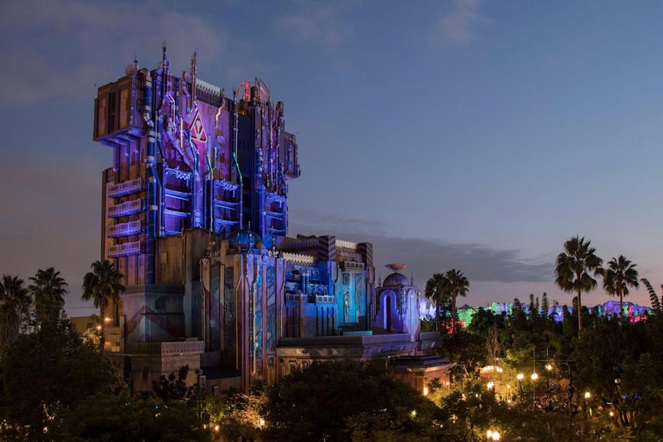 Over on the Avengers Campus at Disney's California Adventure, the Guardians of the Galaxy drop tower gets a Halloween makeover The Monsters after Dark overlay will include some lights-out moments.