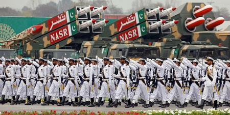 Pakistani Navy soldiers march past the Nasr solid fuelled tactical ballistic missile system during Pakistan Day military parade in Islamabad, Pakistan March 23, 2019. REUTERS/Akhtar Soomro