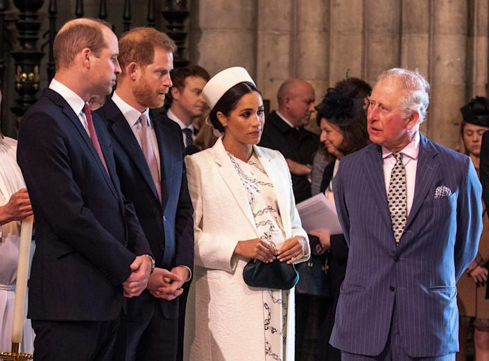Britain's Meghan, Duchess of Sussex (2R) talks with Britain's Prince Charles, Prince of Wales (R) as Britain's Prince William, Duke of Cambridge, (L) talks with Britain's Prince Harry, Duke of Sussex, (2L) as they all attend the Commonwealth Day service at Westminster Abbey in London on March 11, 2019. - Britain's Queen Elizabeth II has been the Head of the Commonwealth throughout her reign. Organised by the Royal Commonwealth Society, the Service is the largest annual inter-faith gathering in the United Kingdom. (Photo by Richard Pohle / POOL / AFP)        (Photo credit should read RICHARD POHLE/AFP via Getty Images)