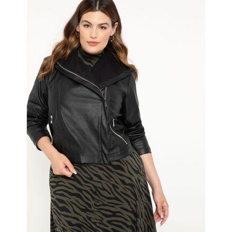 ELOQUII Elements Women's Plus Size Faux Leather Shawl Collar Jacket (Photo via Walmart)