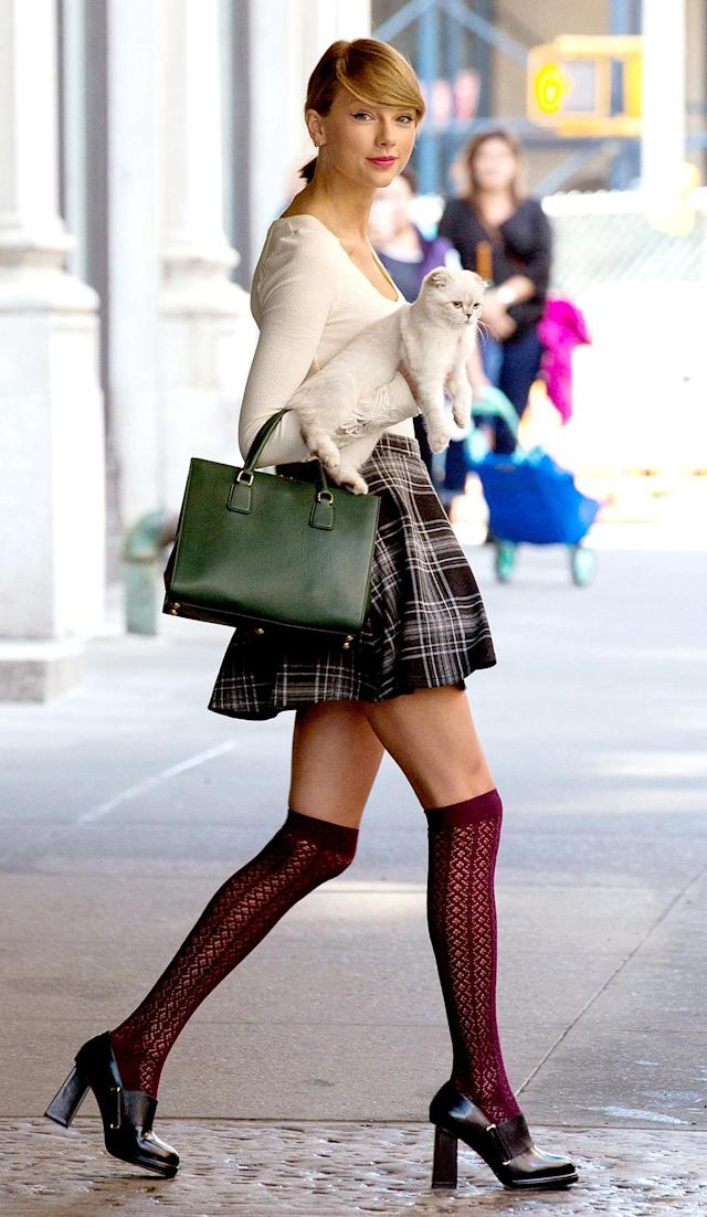 <p>With her cat Meredith by her side, Swift looked ready to enroll at a school for (very stylish) witches. Who wouldn't want to see her in a <em>Teen Witch</em> remake? (Photo: PacificCoastNews) </p>