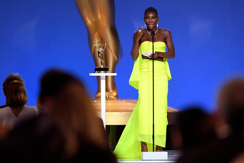 """Michaela Coel accepts the award for outstanding writing for a limited or anthology series or movie for """"I May Destroy You."""""""