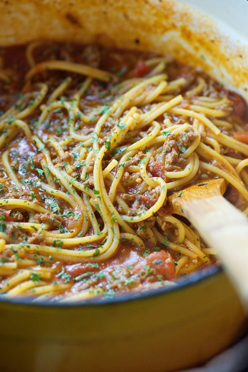 """<p>The less dishes to wash, the better.</p><p>Get the recipe from <a href=""""/cooking/recipe-ideas/recipes/a53058/one-pot-spaghetti-recipe/"""" data-ylk=""""slk:Delish"""" class=""""link rapid-noclick-resp"""">Delish</a>.</p>"""
