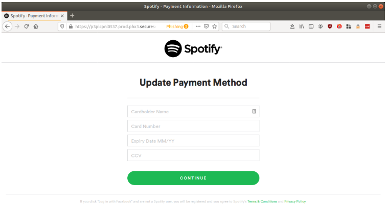 Spotify phishing scam doing the rounds via email. Source: MailGuard