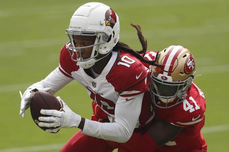 Arizona Cardinals wide receiver DeAndre Hopkins (10) had a huge game against the 49ers. (AP Photo/Josie Lepe)