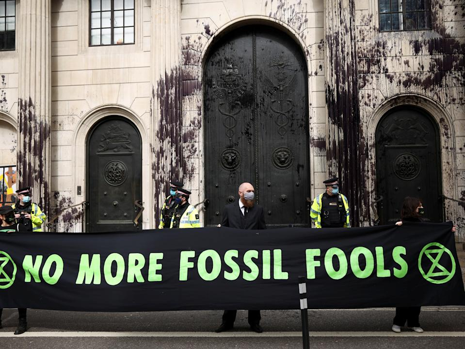 Extinction Rebellion has targeted the Bank of England in recent demonstrationsReuters