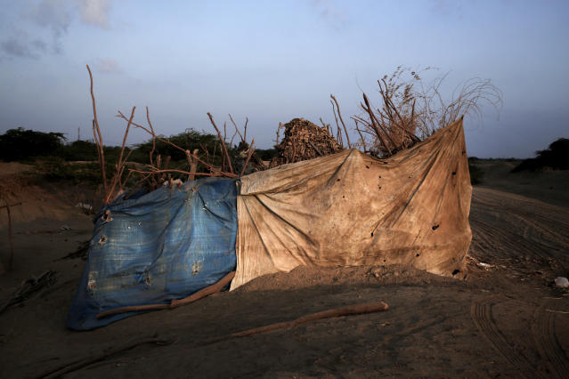 <p>This Feb. 15, 2018 photo shows the hut made of tree limbs and rags where Hagar Yahia and her family live in Abyan, Yemen. Her family is among 18,000 people who escaped war zones further west and streamed into Abyan province, a stretch of territory where Yemen's barren mountains meet the Arabian Sea. There, they join a resident population that is also struggling to feed itself. (Photo: Nariman El-Mofty/AP) </p>
