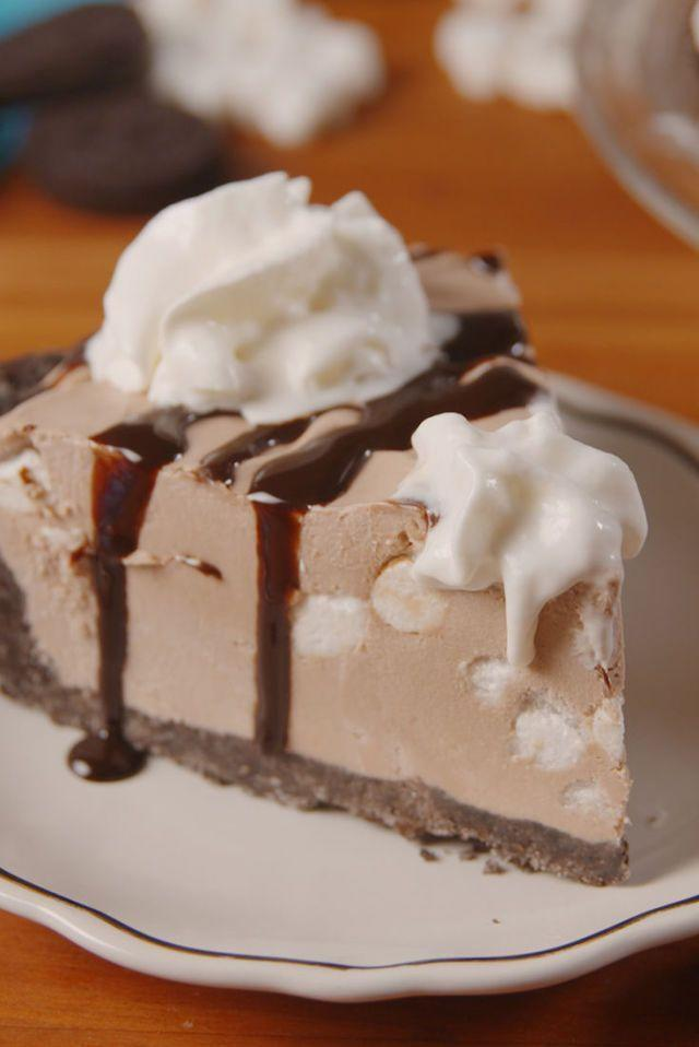 """<p>Take your hot chocolate obsession from winter to summer with this cheesecake.</p><p>Get the <a href=""""https://www.delish.com/uk/cooking/recipes/a34902231/frozen-hot-chocolate-cheesecake-recipe/"""" rel=""""nofollow noopener"""" target=""""_blank"""" data-ylk=""""slk:Frozen Hot Chocolate Cheesecake"""" class=""""link rapid-noclick-resp"""">Frozen Hot Chocolate Cheesecake</a> recipe.</p>"""